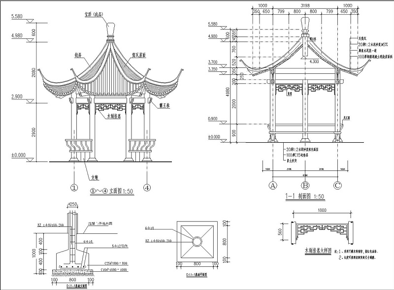 防腐木凉亭的构成图